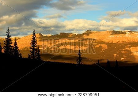 Sunset over Canadian rocky mountains