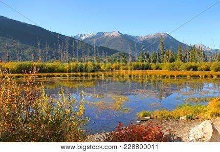 Scenic Vermilion lakes landscape in Banff national park
