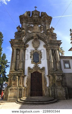 Vila Real, Portugal - September 22, 2017: Facade Of The Chapel Of The Mateus Palace In Vila Real, Po