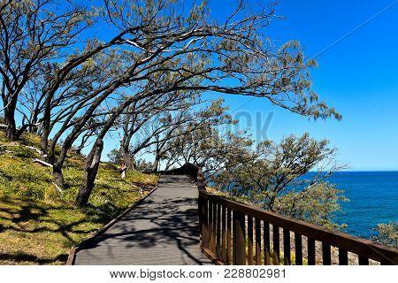 Gorge Walk Wooden Pathway With Ocean View On North Stradbroke Island, Queensland, Australia