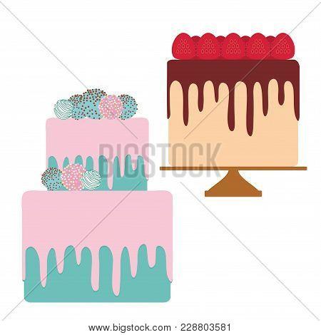 Birthday, Valentine's Day, Wedding, Engagement. Sweet Turquoise Sky Blue Cake, Pink Cream Sprinkles,