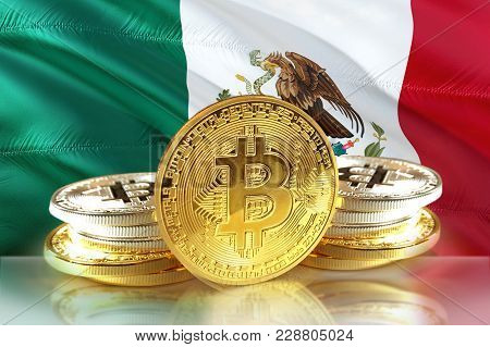 Bitcoin Coins On  Mexico's Flag, Cryptocurrency Concept Photo