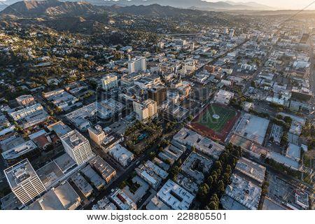 Los Angeles, California, USA - February 20, 2018:  Aerial morning view of towards Hollywood Bl near Highland Av in Southern California.