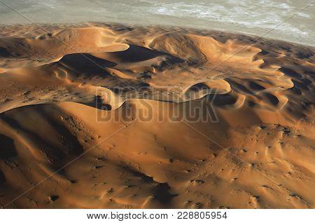 Aerial View Of Sand Dunes At Rub Al Khali