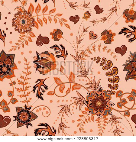 Seamless Floral Pattern. Hand Draw Vector Illustration. Seamless Background With Flowers. Orange Bro