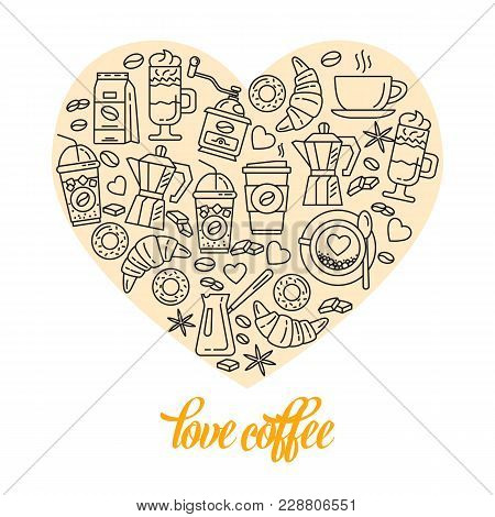 Coffee Line Icon Icons Enclosed In The Shape Of Heart. Simple Set Of Coffee And Tea Related Vector L