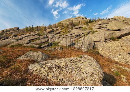 Beauty view in mountains of Altai. Kolyvan ridge - a mountain ridge in the north-west of the Altai Mountains, in the Altai Territory of Russia