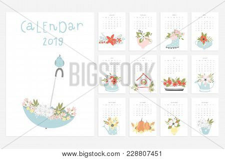 Calendar 2019. Stock Vector. Fun And Cute Calendar With Hand Drawn Flowers, Cups, Pumpkin And Etc..