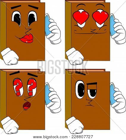 Books Talking On Cell Phone. Cartoon Book Collection With Various Faces. Expressions Vector Set.