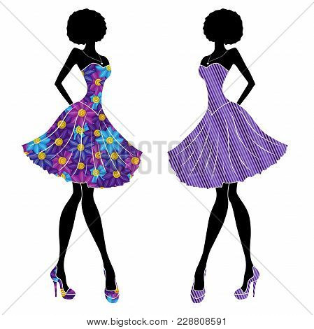 Slender Stylish Young Models In Short Dresses Mainly With Blue And Violet Colors, Vector Stencils Is