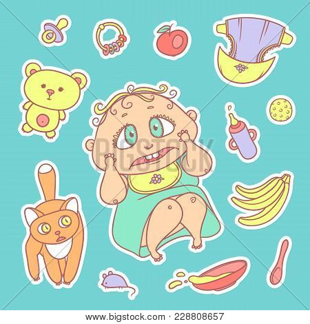 Vector Set Color Sketch Illustrations Stickers Of The Scared Child And The Kitten. Hygiene Items, Ba