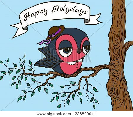 Bullfinch Wearing A Hat On Branch With Leaves. Vector Illustration