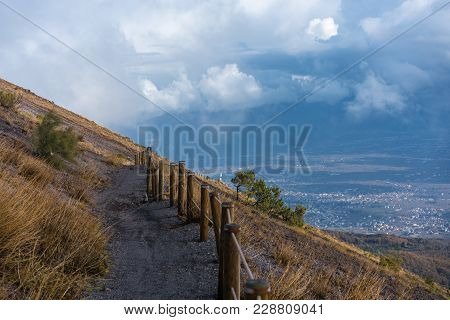 Path On The Mountainside Against The Background Of A Beautiful Sky