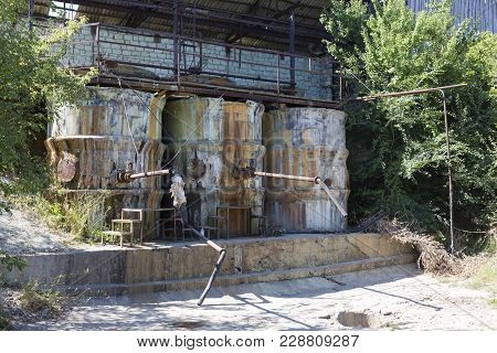 Old Station For The Storage Of Pesticides. It Located In A Garden.