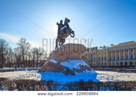 Monument To Peter The Great In St. Petersburg In The Winter