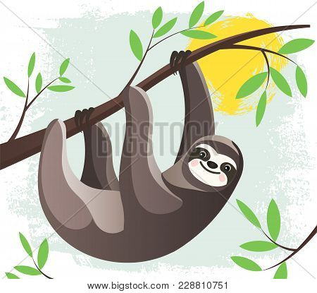 Cartoon Lazy Hanging Sloth In A Rain Forest  On A Tree Branch. Funny Childish Character. Stylized Fl