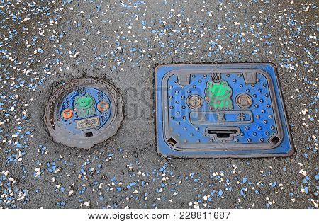 Gero Japan - December 11, 2017: Cute Design Utility Hole Cover In Gero City Japan