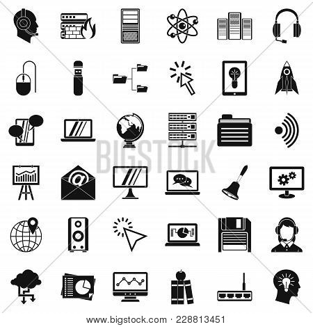 Online Seminar Icons Set. Simple Set Of 36 Online Seminar Vector Icons For Web Isolated On White Bac