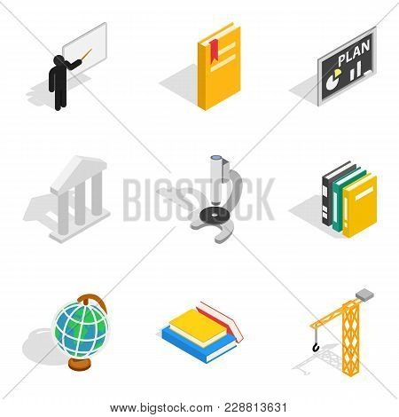 Teaching Work Icons Set. Isometric Set Of 9 Teaching Work Vector Icons For Web Isolated On White Bac