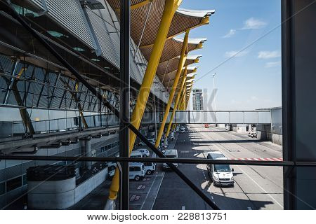 Madrid, Spain - August 22, 2017: Jetway Or Finger In Runway Of Adolfo Suarez Madrid Airport