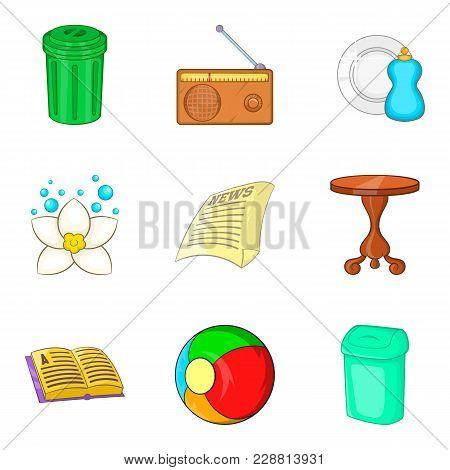 Launder Icons Set. Cartoon Set Of 9 Launder Vector Icons For Web Isolated On White Background