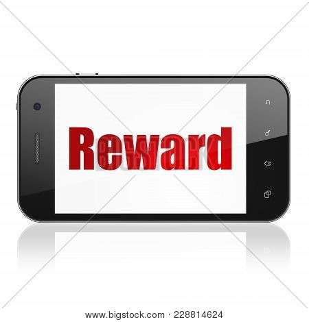 Business Concept: Smartphone With  Red Text Reward On Display,  Tag Cloud Background, 3d Rendering