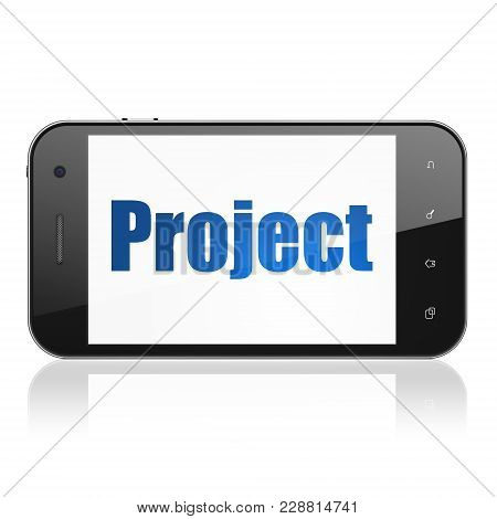 Business Concept: Smartphone With  Blue Text Project On Display,  Tag Cloud Background, 3d Rendering