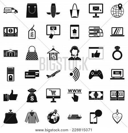 Web Purchase Icons Set. Simple Set Of 36 Web Purchase Vector Icons For Web Isolated On White Backgro