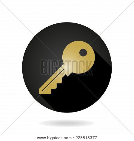 Fine Vector Golden Key Icon In The Black Circle. Flat Design And Long Shadow