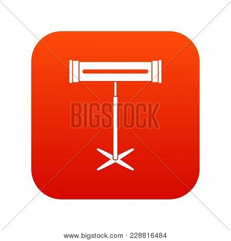 Electric Heater Icon Digital Red For Any Design Isolated On White Vector Illustration