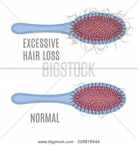 Brush with hair tuft as a sign of alopecia and comb without a clump. Beauty healthcare concept. Vector illustration. poster