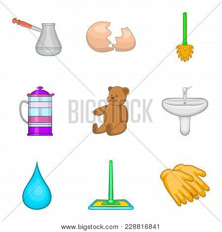 Water Cleaning Icons Set. Cartoon Set Of 9 Water Cleaning Vector Icons For Web Isolated On White Bac