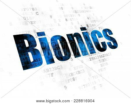Science Concept: Pixelated Blue Text Bionics On Digital Background