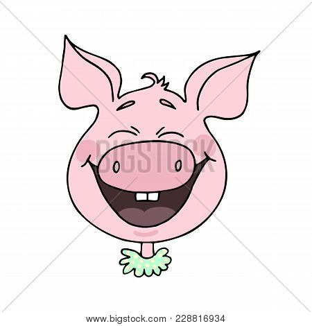 Cute Piggy Laughs Happily. Emotion Of Joy And Happiness. Vector Illustration Of Cartoon Style