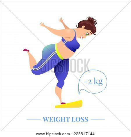 Happy Plus Size Woman On Scales Celebrating Weightloss After A Diet. Perfect Body, Goal Achievement