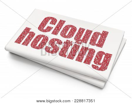 Cloud Technology Concept: Pixelated Red Text Cloud Hosting On Blank Newspaper Background, 3d Renderi