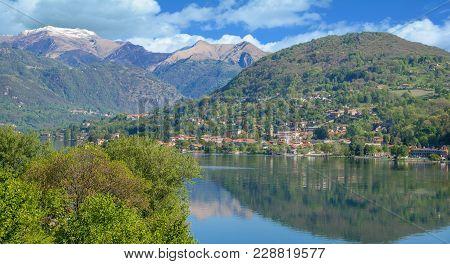 View To Village Of Pettenasco At Lake Orta,piedmont,italy