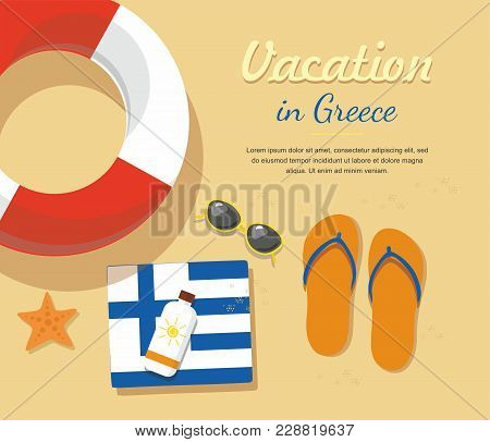 Greece Tourism. Flip- Flops In The Sand With Towel, Sun Glasses And Others