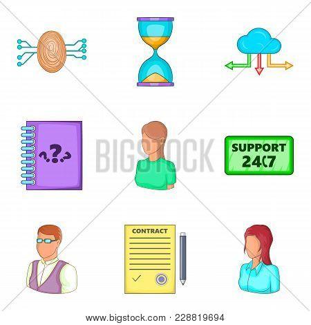 Electric Communication Icons Set. Cartoon Set Of 9 Electric Communication Vector Icons For Web Isola