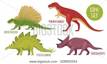 Dino Set Of Isolated Colourful Dinosaur Images With Various Species From Different Historical Period