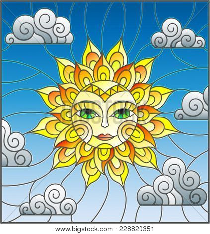 Illustration In Stained Glass Style With Fabulous Sun With The Face On The Background Of Sky And Clo