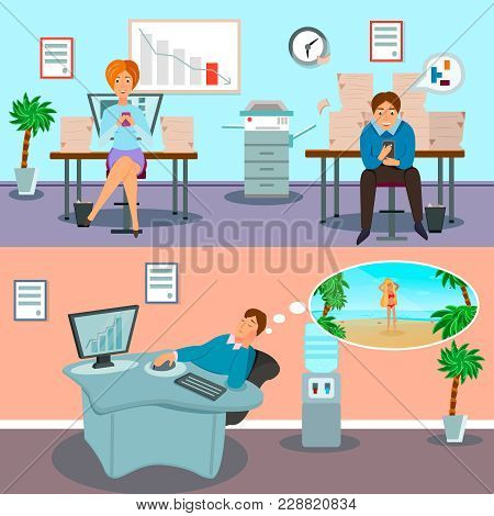 Procrastination Symptoms Deadline Stress And Task Avoiding At Workplace Characters 2 Horizontal Cart