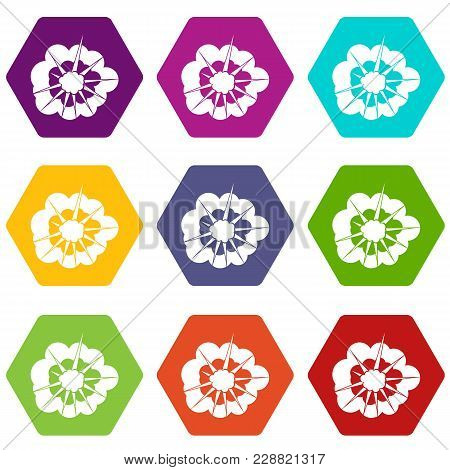 Cloudy Explosion Icon Set Many Color Hexahedron Isolated On White Vector Illustration
