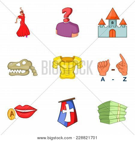 Costume For Movie Icons Set. Cartoon Set Of 9 Costume For Movie Vector Icons For Web Isolated On Whi
