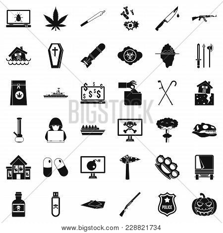 Callousness Icons Set. Simple Set Of 36 Callousness Vector Icons For Web Isolated On White Backgroun