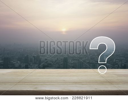 Question Mark Sign Icon Over Aerial View Of Cityscape At Sunset, Vintage Style, Customer Support Con