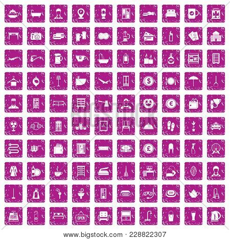 100 Inn Icons Set In Grunge Style Pink Color Isolated On White Background Vector Illustration