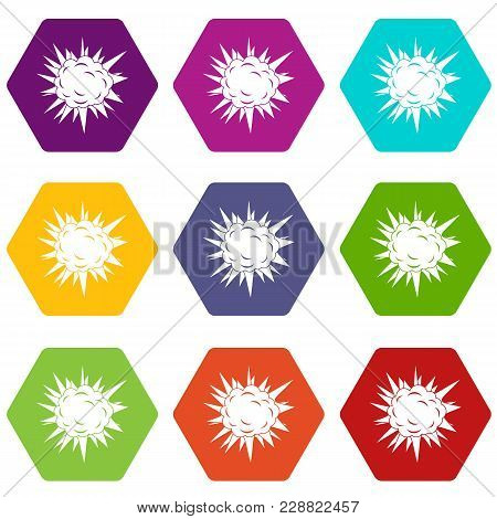 Terrible Explosion Icon Set Many Color Hexahedron Isolated On White Vector Illustration