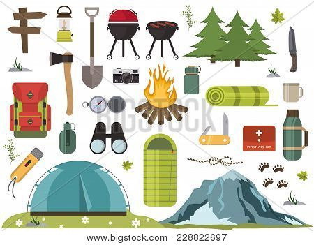 Hiking Camping Equipment Vector Campfire Base Camp Gear And Accessories Illustration. Hike Outdoor T