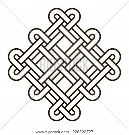 Celtic Knot Geometric Ancient Cross Tribal Vector Knotted Logo Illustration. Knot Work Gaelic Tattoo